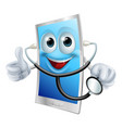 mobile phone character holding a stethoscope vector image vector image