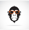 monkey head wearing glasses on white background vector image vector image