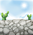 Scene with stone wall and cactus vector image vector image