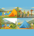 set 2d flat concepts outdoor activities camping vector image
