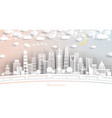 shanghai china city skyline in paper cut style vector image vector image