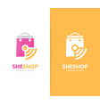 Shop and wifi logo combination sale and