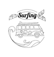 Surf trip outline background Minimalistic linear vector image vector image