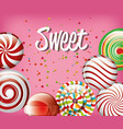 sweet candies rainbow and spiral with pink vector image