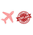 valentine heart mosaic of airplane icon and grunge vector image vector image