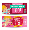 valentine s day voucher coupon template vector image vector image