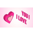 Valentines day card with isometric heart vector image vector image