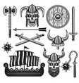 vikings and scandinavian warriors objects vector image vector image
