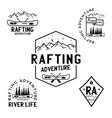vintage rafting adventure logos mountain camp vector image