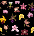 watercolor style yellow brown bordo pink orchid vector image vector image