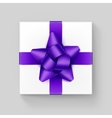 White Gift Box with Purple Violet Ribbon Bow vector image vector image