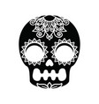 white patterns on a black skull vector image vector image