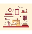 Modern seamstress work linear style Sewing machine vector image