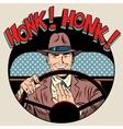 honk vehicle horn driver man vector image
