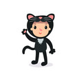 toddler in plush black cat costume waving by hand vector image