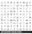 100 country house icons set outline style vector image vector image