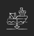 anchored ship chalk white icon on black background vector image
