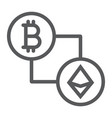 bitcoin vs ethereum line icon finance and money vector image vector image
