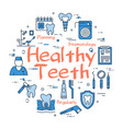 blue round healthy teeth concept vector image