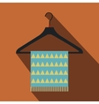 Blue scarf on coat-hanger flat icon vector image vector image