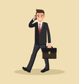 businessman man talking on the phone flat design vector image