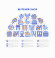 butcher shop concept in half circle vector image