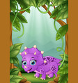 cartoon happy dinosaurs living in the forest vector image