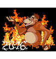 cartoon monkey on a background of fire 2016 vector image vector image