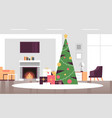 christmas decorated green fir tree with gift vector image vector image