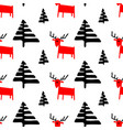 Christmas seamless pattern with deers and pine