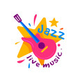 creative badge for jazz club live music emblem vector image