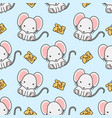 cute mouse and cheese seamless pattern background vector image vector image