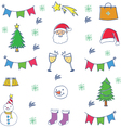 Doodle of object christmas color set vector image