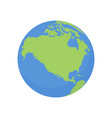 earth globe icon world planet with usa and canada vector image