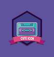 emblem with casette icon vector image vector image