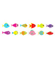 fish icon set line cute cartoon kawaii colorful vector image vector image