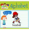 Flashcard alphabet B is for baseball vector image vector image
