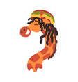 funny rastafarian giraffe with dreadlocks crazy vector image