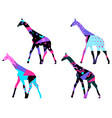 giraffe with a pattern of geometric shapes vector image
