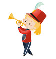 girl in band uniform playing trumpet vector image vector image