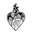 graphic heart with floral decorations vector image vector image