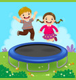 happy kids jumping on trampoline in the backyard vector image