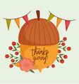 happy thanksgiving day acorn flower berries vector image vector image