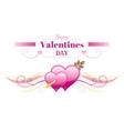 Happy Valentines day border Cupid arrow heart vector image vector image