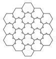 Hexagonal jigsaw puzzle template puzzle