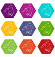 hungry dinosaur icons set 9 vector image vector image