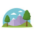 landscape travel vacation mountain trees grass sky vector image