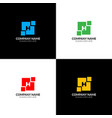 letter h in abstract geometric square logo icon vector image vector image