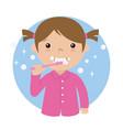 little girl brushing her teeth vector image vector image