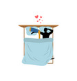 lover hockey guy and hockey stick in bed lovers vector image vector image